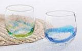 琉球ガラス村 ペアでこたるグラス(青/水・水/緑 )
