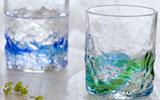 琉球ガラス村 ペアでこロックグラス(青/水・水/緑 )