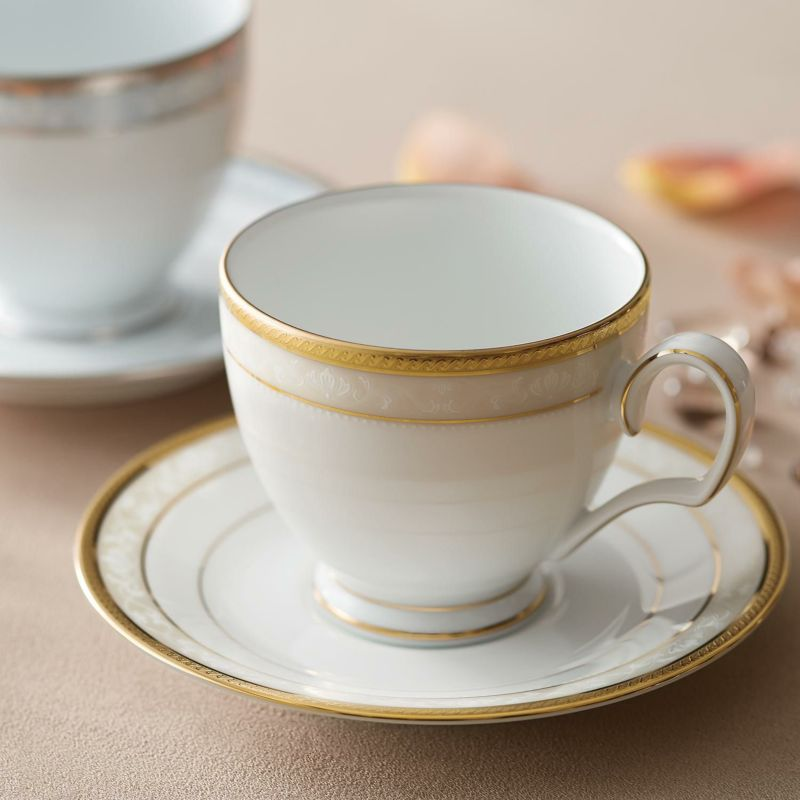 ハンプシャーゴールド&プラチナ ティー・コーヒー碗皿ペアセット(金・銀) [4335-6L/P91988]