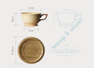 木のカップ&ソーサー