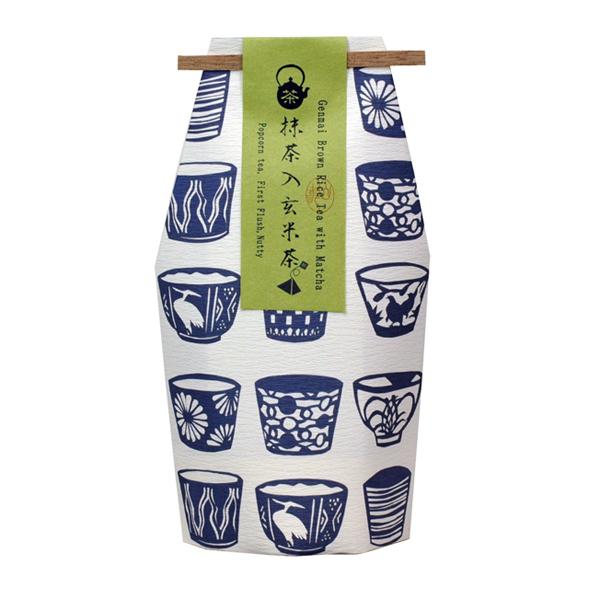 お守型 そばちょこ柄 抹茶入玄米茶ティーバック(45個以上〜受付) [0776]