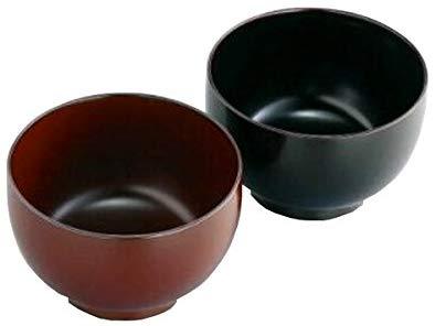 手塗うるしペア汁椀(溜・朱) [12-088-110]