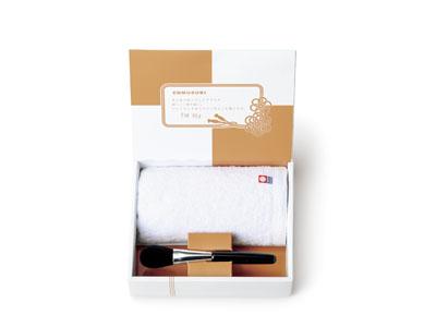 熊野 侑昂堂の化粧筆 フェイスブラシ&ウォッシュタオル(ホワイト) [EN-26]
