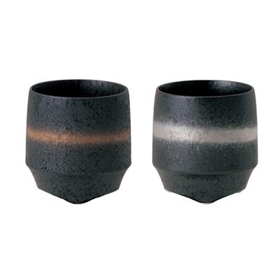 〈KIHARA〉香酒盃 ぐい呑晶金帯・晶銀帯2ヶセット [751C0337]-1