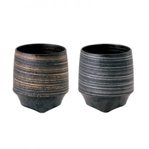 〈KIHARA〉香酒盃Lサイズ 晶金かすり・晶銀かすり 2ヶセット [751C0338]