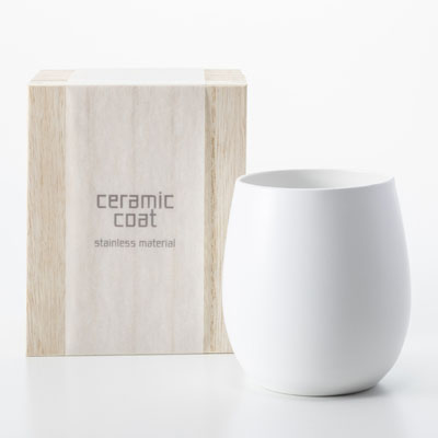 セラミックコート 真空二層カップ ホワイト 木箱入 [CC-3003A]