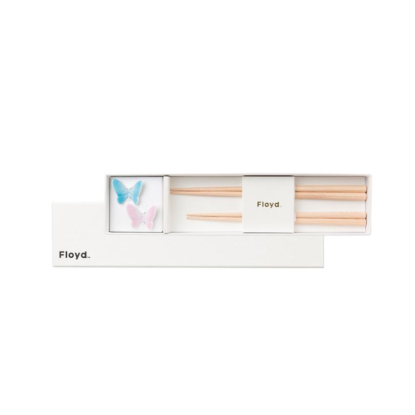 [名入れ]Butterfly Rest & Chopstick( ピンク&ブルー ) [FL02-01620N]